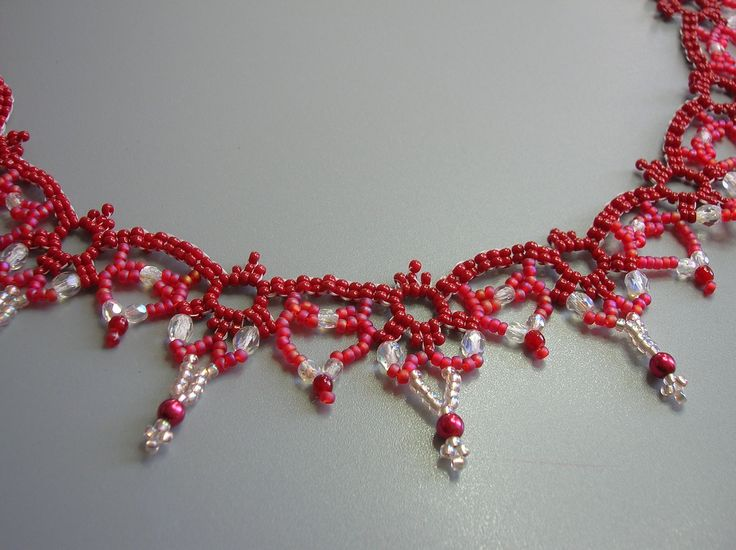 Poppy Red Lace necklace by zviagil on Etsy