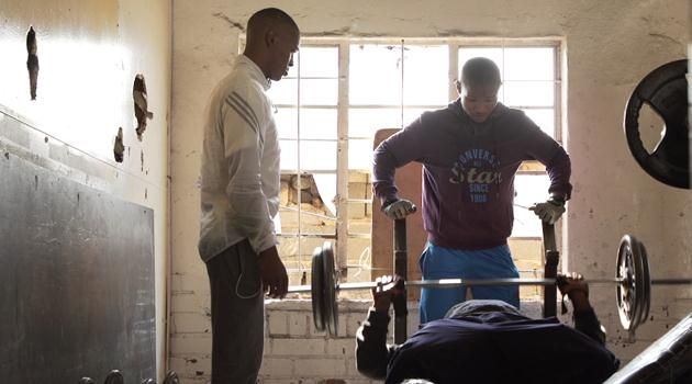 Wonderboy Siphamandla Ndwonde  working out at his gym in Alexandra