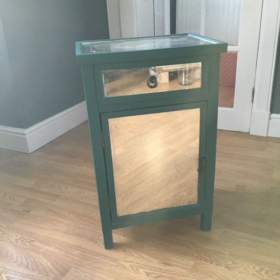 Teal Mirrored Bedside Cabinet by RachelButtonsShoppe on Etsy