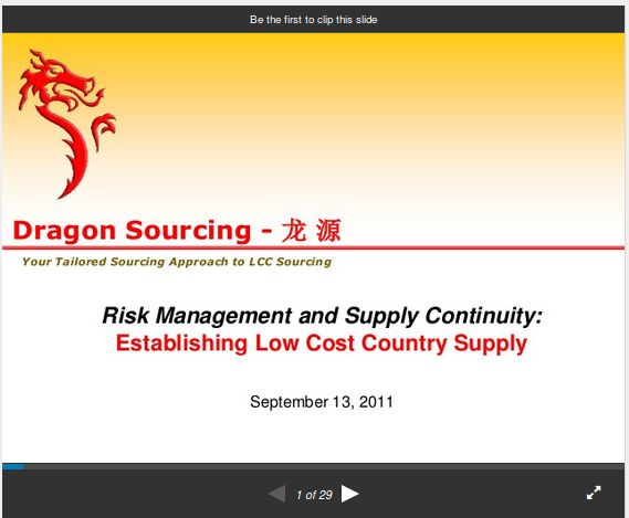 Case Study-#Risk #Management & #Supply Continuity for #Low #Cost #Country #Supply
