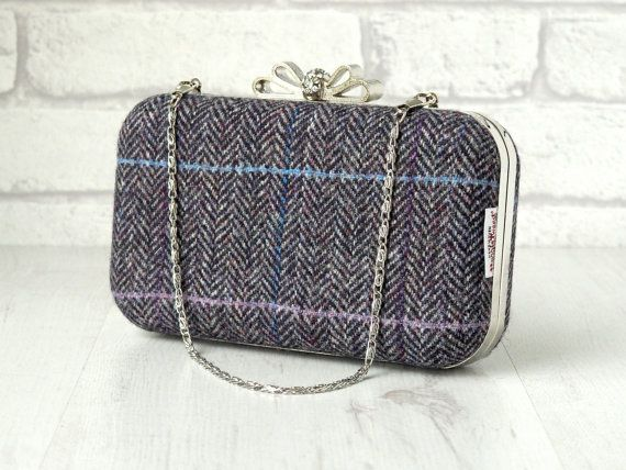 Harris Tweed clamshell Minaudiere clutch purse with chain,black/grey herringbone with blue and white dotty cotton lining.