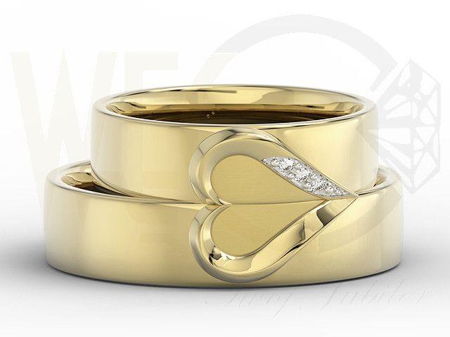 Para obrączek ślubnych z sercem w damskiej diamenty OB-01Z-R-D | Obrączki Grawerowane Obrączki Ślubne | jubiler WĘC