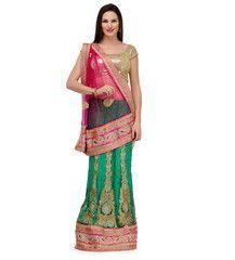 Magenta and Green Net Lehenga Style Saree | Fabroop USA | $100.00 |