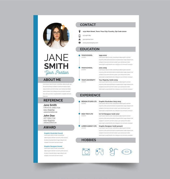 Professional Stylish Flat Resume Cv Psd Template Free Download Freebies Curriculum Template Resume Design Free Free Cv Template Word