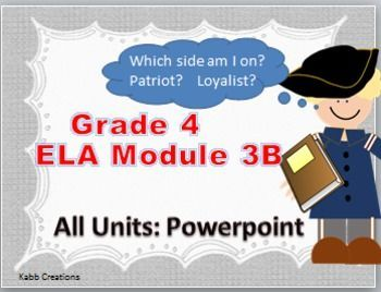 This is a bundle of lessons for Grade 4 ELA Module 3B all Units on PowerPoint.Each lesson guides you through the lesson from Engage NY.  I have found these to be great to work through with my students.   You will still need to have all worksheets accessible by means of a document camera or handouts, etc.Topics included are:Unit 1:  In this unit, students will explore colonial perspectives on the Revolutionary War.