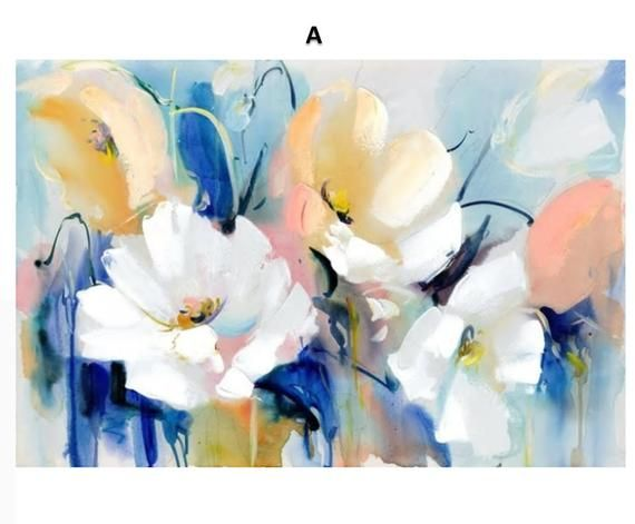 Variety Of Modern Watercolor Style Flowers Printed On Canvas