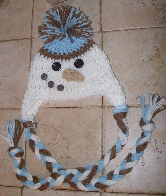 Crochet snowman beanie - would look too cute
