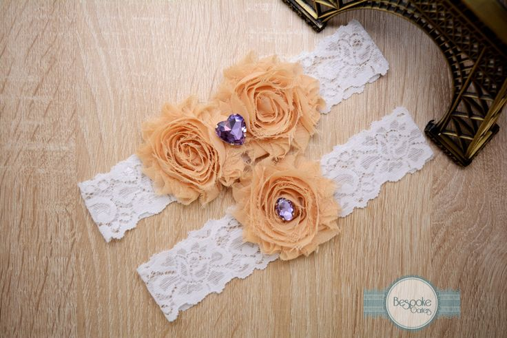 Wedding Garter Set, Handmade of White Lace Cream Nude Flower and Violet Rhinestone by BespokeGarters on Etsy