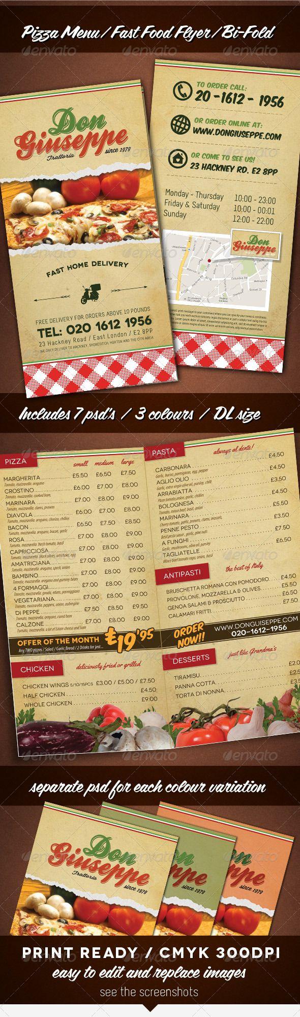 Pizzeria Fast Food Take Away Menu Flyer