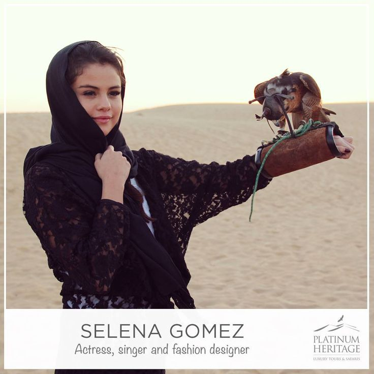 Selena Gomez with a Falcon on Private Falconry Experience by Platinum Heritage in Dubai. She is amazing! #MyDubai #selenagomez #selenators #selena #desert #safari #dubai #platinumheritage #falcon
