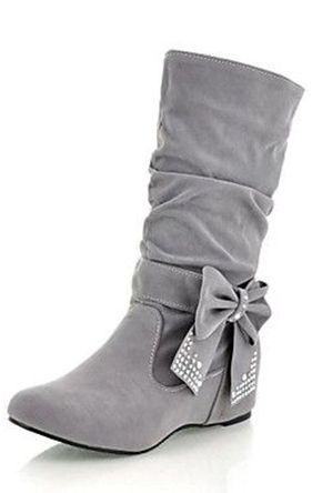 Grey Bow Boots ღ I need these in my life lol