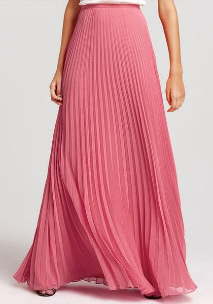 Add a pop to your bland office wear with this salmon pink pleated maxi skirt. It's styled with accordion pleats and a mid-rise waist line. | Lookbook Store What's New