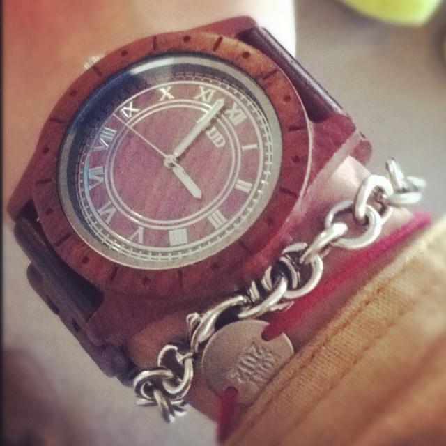 FLUD big ben wood watch + Tiffany & Co. + KONY 2012 Bracelets