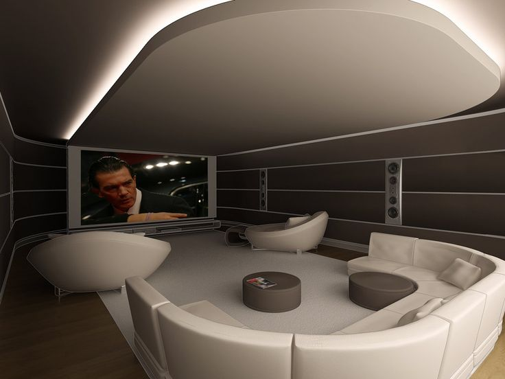 "Contemporary Home Theater with cove-lighted ceiling ""cloud"""