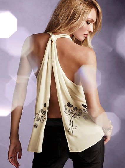 Embellished Open-back Tank. Feels too flower child to me. Not mention what do you wear for support.
