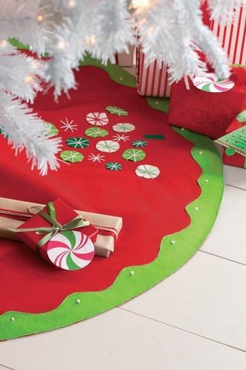 Fun felt whimsical Christmas tree skirt