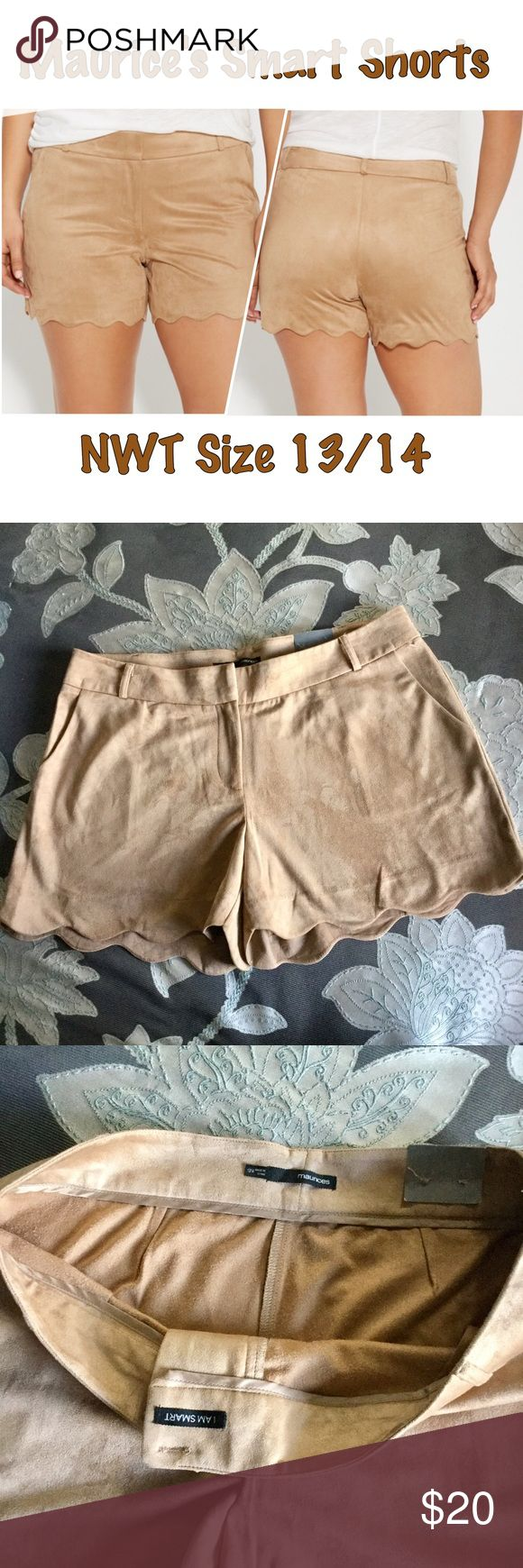 """Maurice's Smart Shorts Size 13/14 NWT Maurice's Smart Shorts in caramel color, velvety feel, scalloped hem. Approx laying flat waist measures 18"""" Maurices Shorts"""