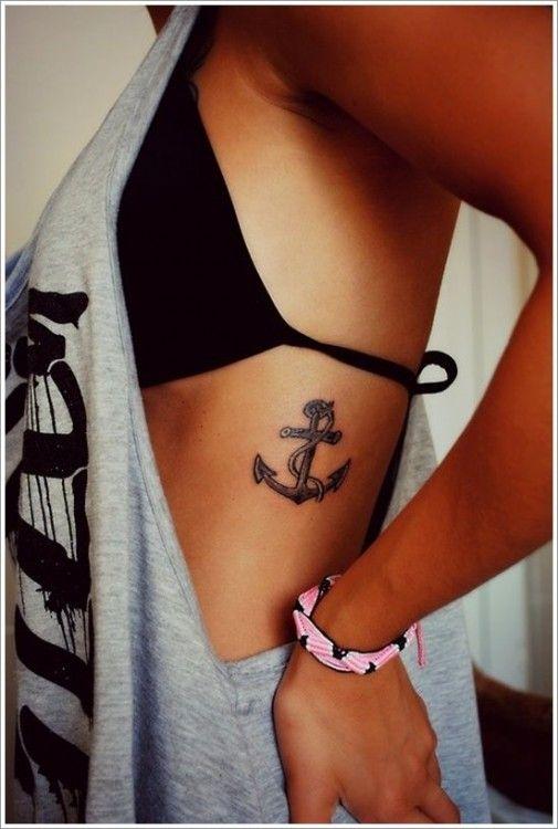 Tatuaje de un ancla en la parte costera de una chica. Significa fortaleza y estabilidad o alguien que la mantiene en su lugar, le proporciona fuerza para aferrarse sin importar cómo reciba las cosas
