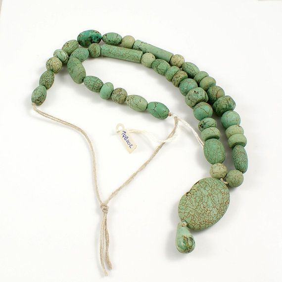 Green Turquoise Bead Strand from Yemen with Oval by TheRockSpot