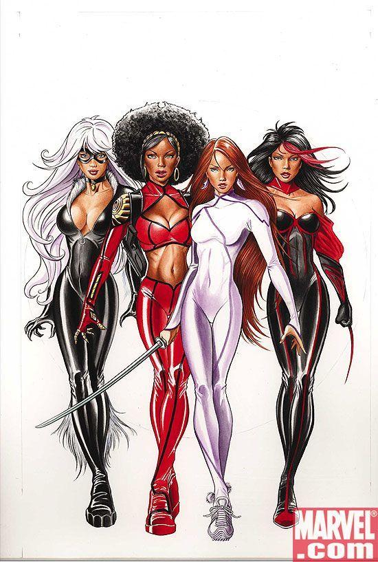 Black Cat, Misty Knight, Colleen Wing and Tarantula (Maria Vazquez)