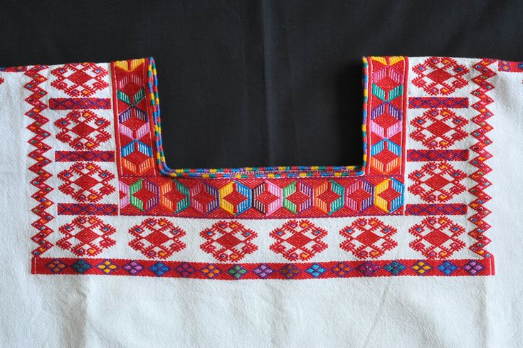 Close-up photograph of the fine embroidery on the neck of a Maya huipil from the highlands of Chiapas Mexico