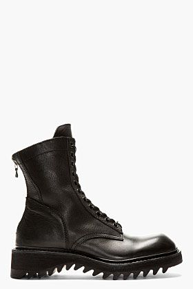 Julius Black Leather Zipped Combat Boots for men | SSENSE