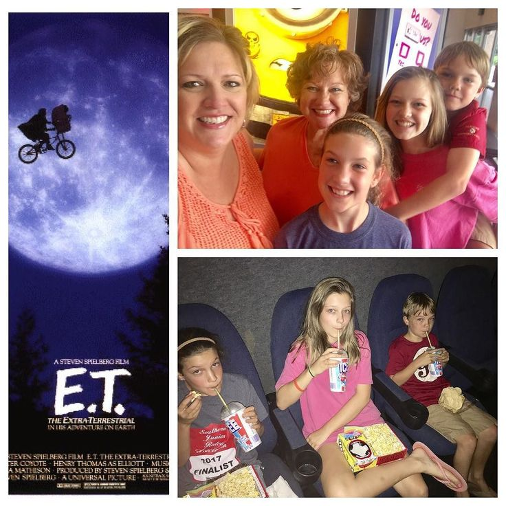 """We took these three yahooligans back to the 80s this afternoon. It was the Academy Award winning """"ET"""" showing at our local movie theater. #retro #ETisaclassic #ETphonehome  #stevenspeilberg #summerfunwithfriends"""