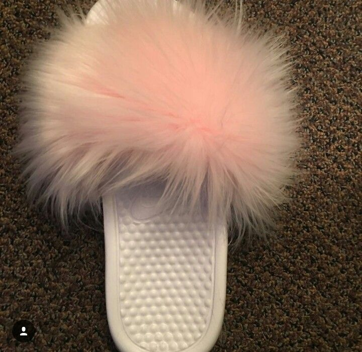 ed2936a405095 Custom Pink Fur Nike Slides