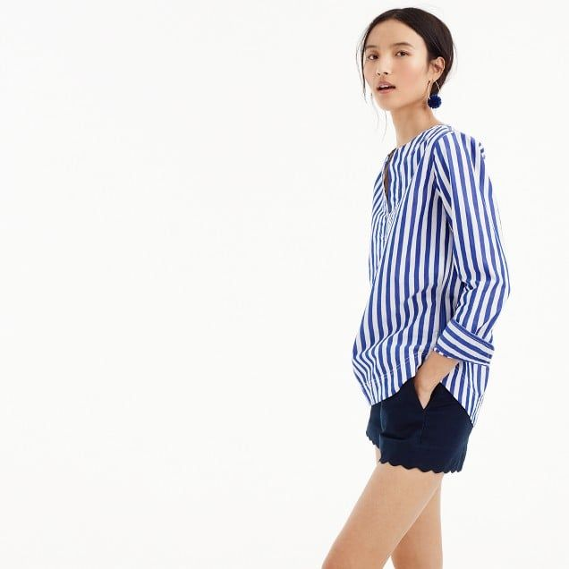 tunic in bold stripe cotton-poplin : women tops & blouses