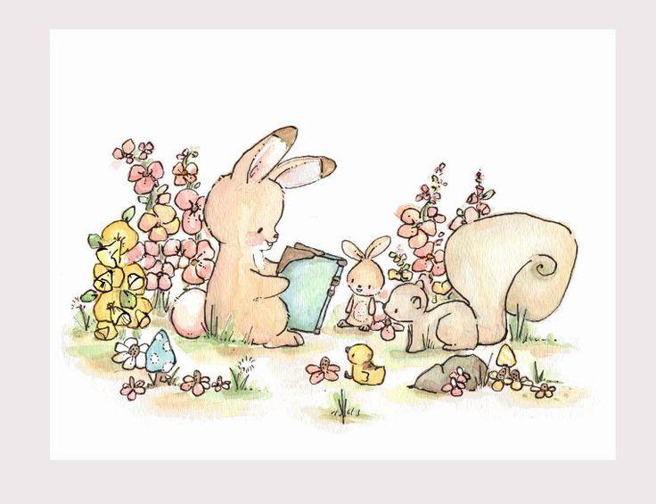 Let's+Read+a+Story.+PRINT+8X10.+Children+Art+by+LoxlyHollow,+$24.00