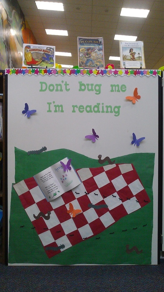 library bulletion boards | library bulletin board ideas / Apples to Applique: Don't Bug Me, I'm ...