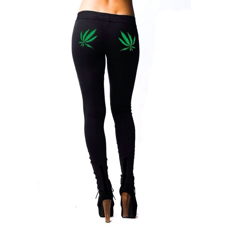 Marijuana Apparel for women Style: Legging Color: Black Clothing:420  Our Original Green Pot Leaf Leggings are back, & better than ever!  Pot leafs printed on rear  Sizes: XS-2XL  -95%cotton -5%spandex  -27 1/2 (inseam)  -Elastic waistband  -Form-fitting  -Thicker + Longer Material  -No Side Seam  check our size chart link at the top of this page for exact measurements  Free sticker pack included  Made in Los Angeles, CA