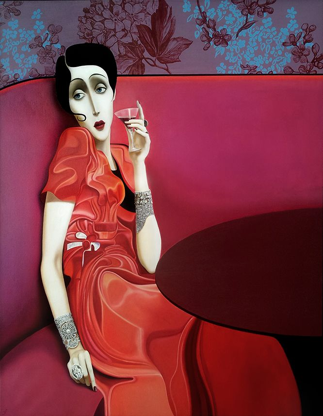 Slava Fokk ''Lady in Red'' oil on canvas 140x110cm 2013