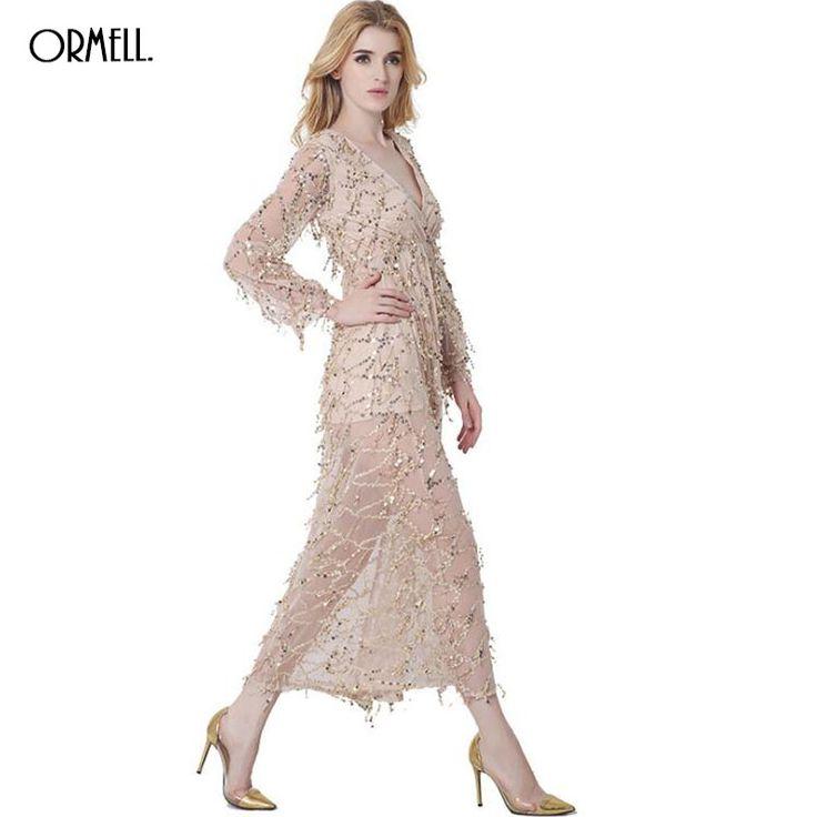ORMELL Sexy Gold Sequin Glitter Dress Women Deep V Sundress Winter Maxi Dress Party Club Vestidos #2016Autumn #Womensfashion