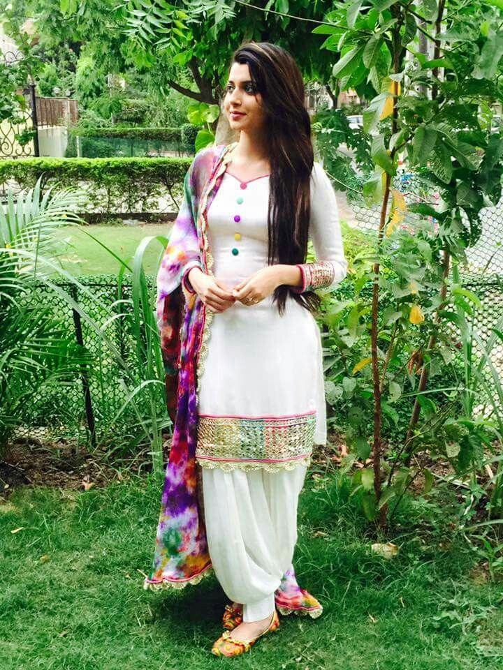 Beautiful white with printed dupatta