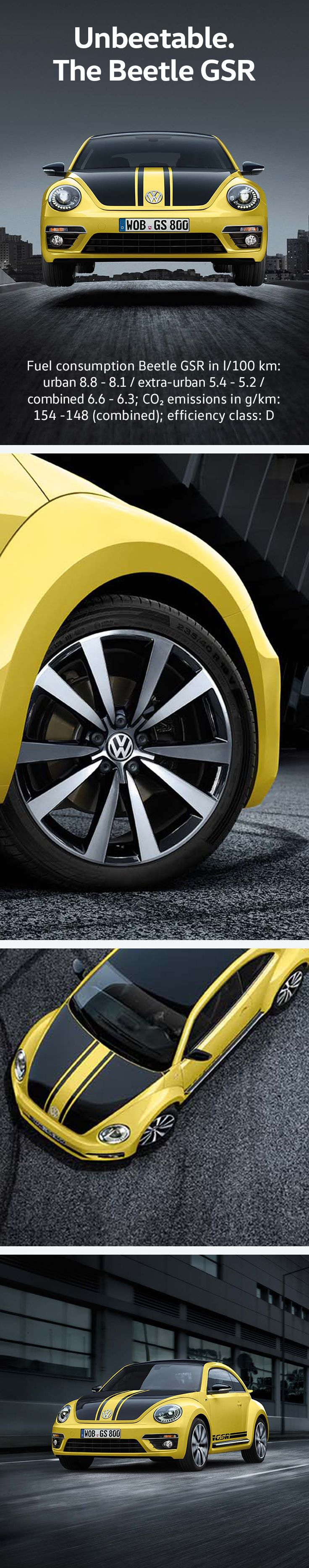 Black, yellow and with a real sting in its tail: after 40 years, the Volkswagen Beetle GSR is back. The GSR is an exclusive model and strictly limited to 3,500 vehicles, each with an individually engraved limited-edition plate on the steering wheel. Some more facts: R-Line bumpers, 19-Inch Tornado alloy wheels and black leather R-Line sport seats with yellow contrast stitching.