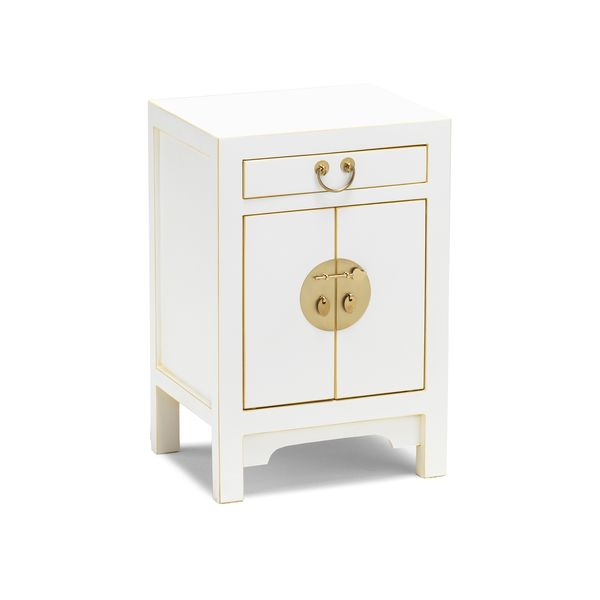 Perfect Chinese small bedside cabinet with a small drawer and two door cupboard. Can be used as a bedside or lamp table to use for drinks books and ornaments Finished in a satin white with gilt edging and white copper metalwork