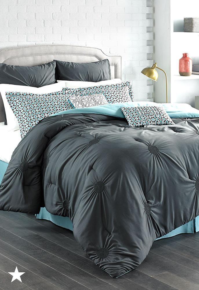 Sutton Charcoal 8 Pc Full Comforter Set