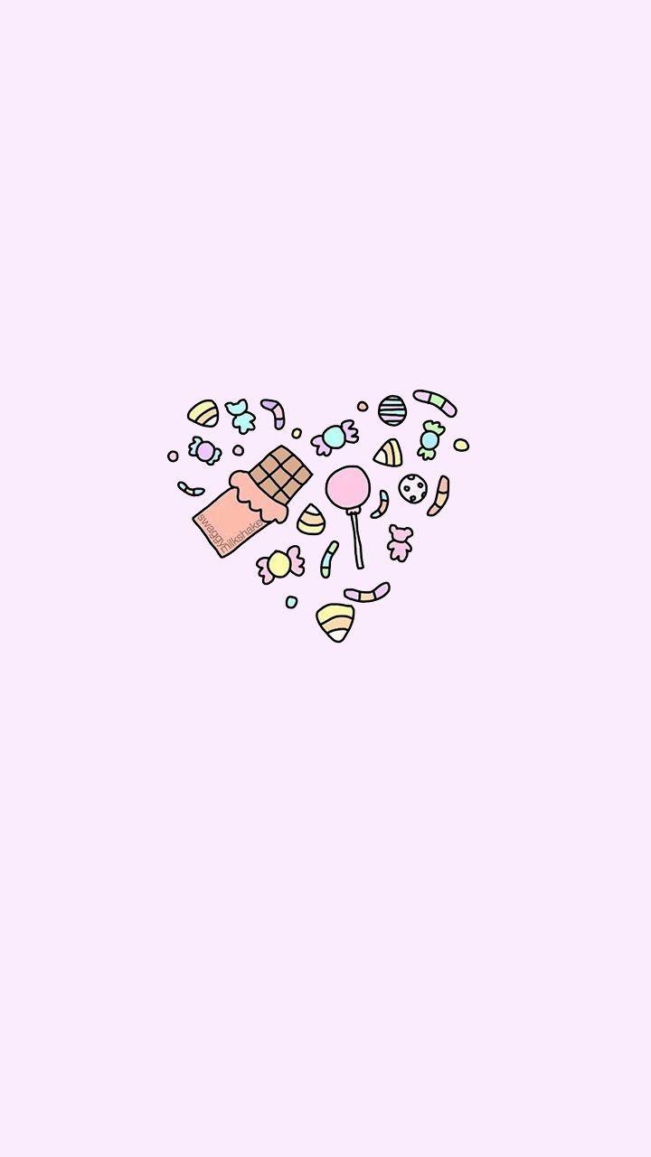 Candy Heart Sweet Candy Illustration Pink Kawaii Wallpaper Cartoon Wallpaper Iphone Wallpaper