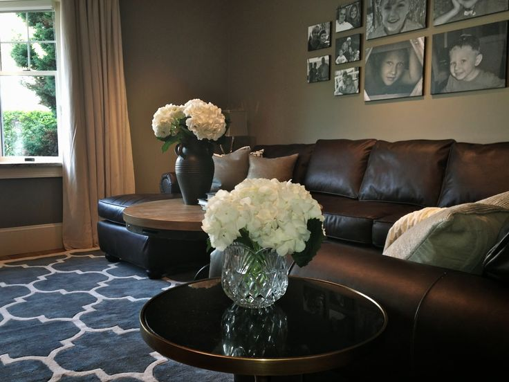 "MBeagle's tip: you can get away with graphic patterns that are borderline feminine, as long as you anchor them with darker, earthy neutrals.  In any room, you want a balance of masculine vs. feminine.  e.g., in this pic, graphic rug with dark couch.  ""South Shore Decorating Blog: The Big Reveal of My Dad's Mancave!!"""