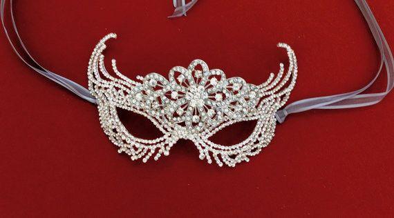 Art Deco Mask, Silver Rhinestone Mask, Masquerade Carnival Mask, Venetian Mask