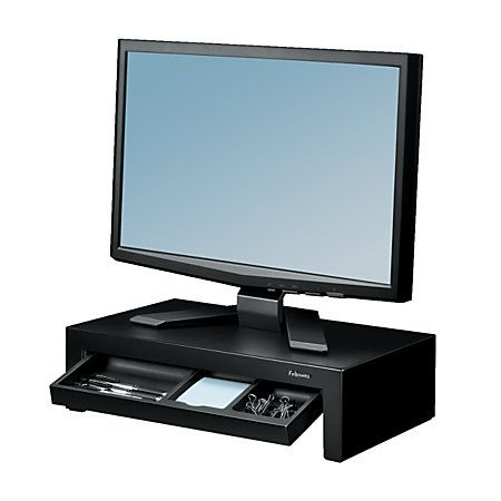 "Fellowes® Designer Suites Monitor Riser, 12.5""H x 5.13""W x 15.5""D, Black"