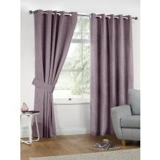 66x90in (168x228cm) Mauve Purple Linen Look Eyelet Curtains