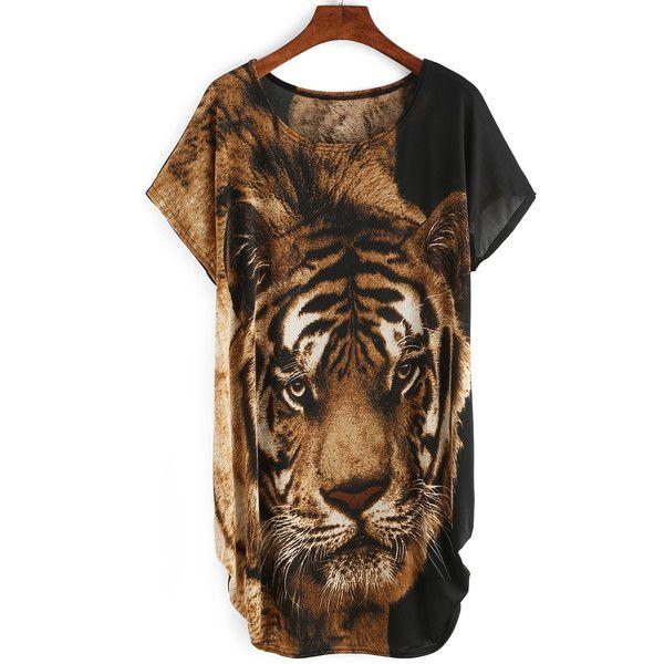 Tiger Print Loose Fit Dress (34 BAM) via Polyvore featuring dresses, multicolor, leopard print dress, short-sleeve maxi dresses, leopard dresses, short sleeve dress i short-sleeve dresses