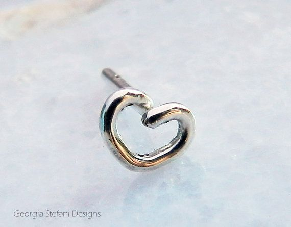5mm Tiny Sterling Silver Heart Nose Earring. by GStefaniJewels