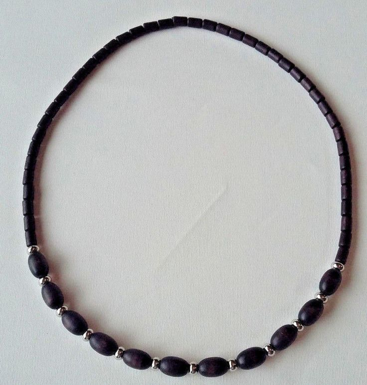 Aarikka Finland Vintage Necklace  Black Wood Beads and Silver Toned  Beads #Aarikka #Beaded