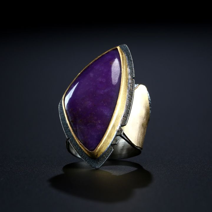 Sugilite Ring. Fabricated Sterling Silver, 14k and 22k Gold. www.amybuettner.com https://www.facebook.com/pages/Metalsmiths-Amy-Buettner-Tucker-Glasow/101876779907812?ref=hl https://www.etsy.com/people/amybuettner http://instagram.com/amybuettnertuckerglasow