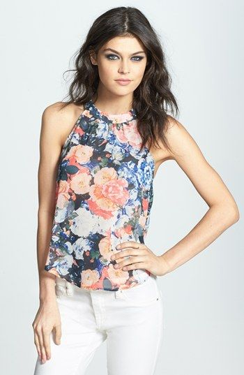 Free shipping and returns on ASTR Drape Back Floral Print Chiffon Tank at Nordstrom.com. Silky floral chiffon shapes this heady high-neck top crafted with cutaway shoulders and wispy split panels along the airy open back.