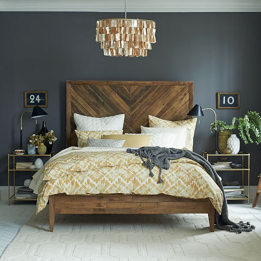 I think I'll just copy this whole room ;) love the headboard and dark walls...
