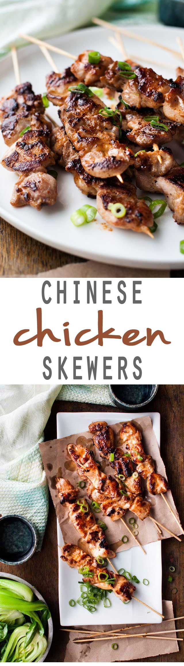 A delicious Asian inspired recipe for Chinese Chicken skewers that's going to knock your socks off! Simple but full of flavor!